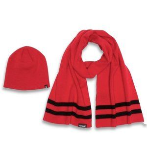 Hurley New Yorker Beanie Hat & Scarf 2-Piece Red